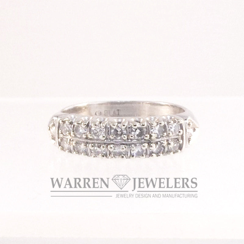 1/3ctw Ladies Vintage Diamond Platinum Estate Anniversary Band Ring
