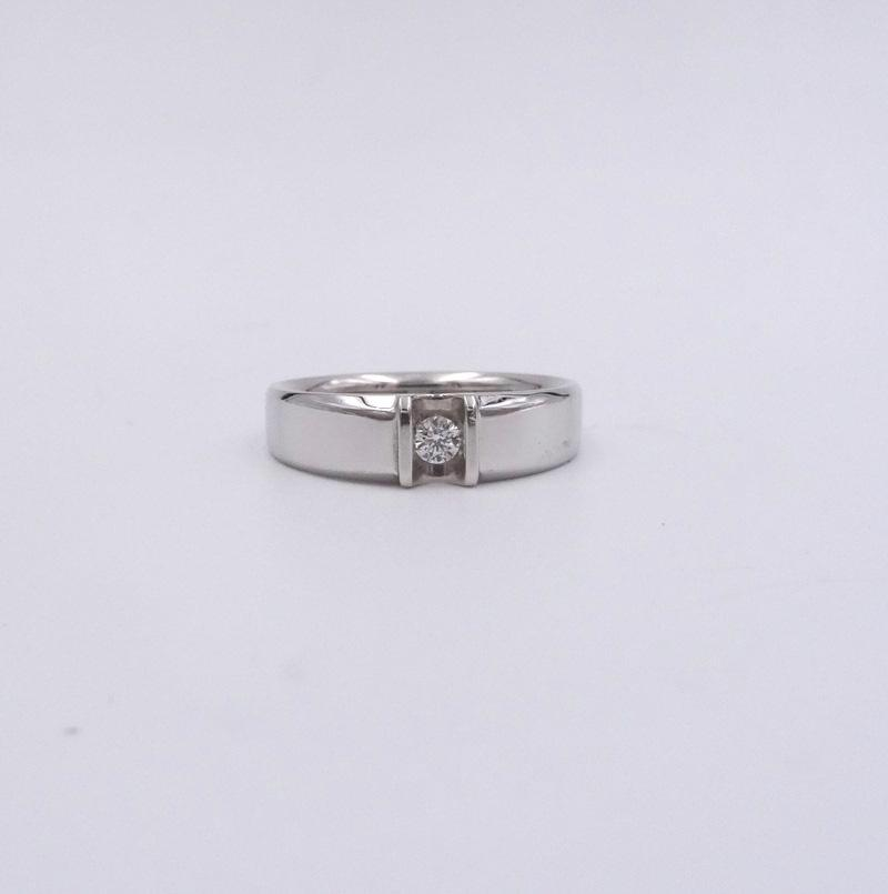 Men's 1/7ct Solitaire Diamond Channel Smooth Wedding Ring Band 14K White Gold