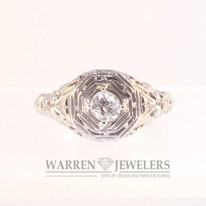 Vintage .21ct Old European Cut Estate diamond Ladies Ring 14K White Gold
