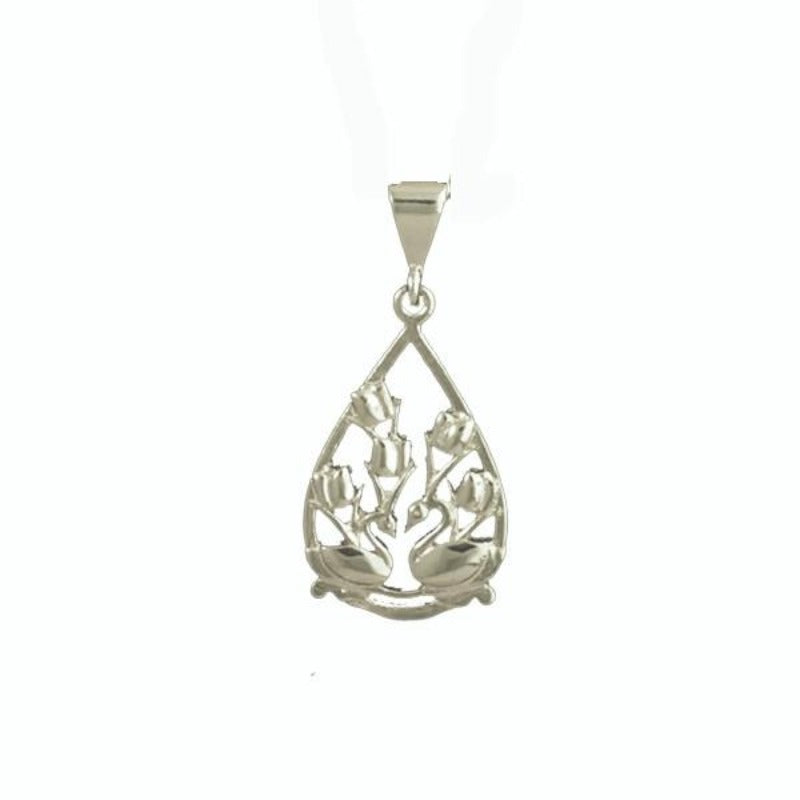 Two Swans and Tulips Floral Charm in 14K White Gold