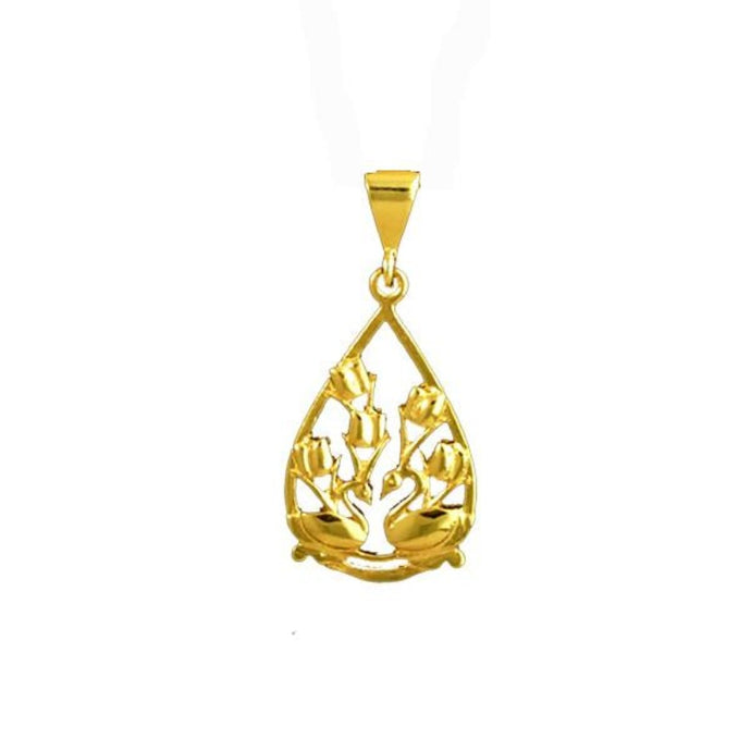 Two Swans and Tulips Floral Charm in 14K yellow Gold