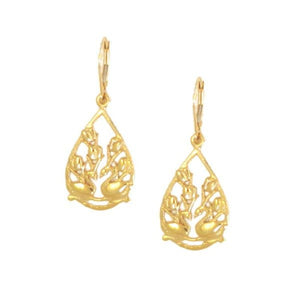 Two Swans Tulip Floral Earrings in 14K Gold and Sterling Silver