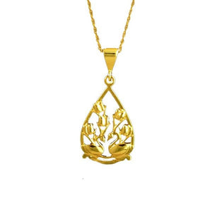 Two Swans Tulip Floral Necklace 14K Gold