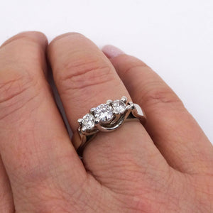 3-stone Diamond Engagement Wedding Ring 14K White Gold 3/4ctw