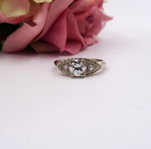 Vintage .79ctw Old European Cut Diamond Estate Ring 14K White Gold 3-stone