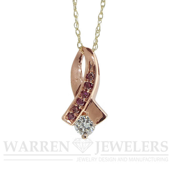 1/5 ctw White Diamond and Pink Diamond 14K Rose Gold Ribbon Pendant .22ct