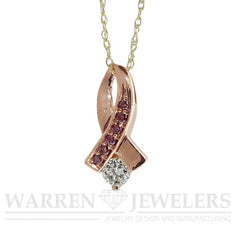 .22ct White and Pink Diamond Rose Gold Ribbon Pendant