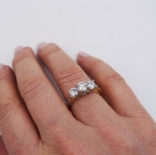3-stone Diamond Ring With Diamond Accented Band 14K Yellow and White Gold 1.93ctw