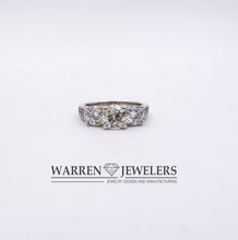 3-stone Diamond Ring With Diamond Accented Band 14K White Gold 2.15ctw