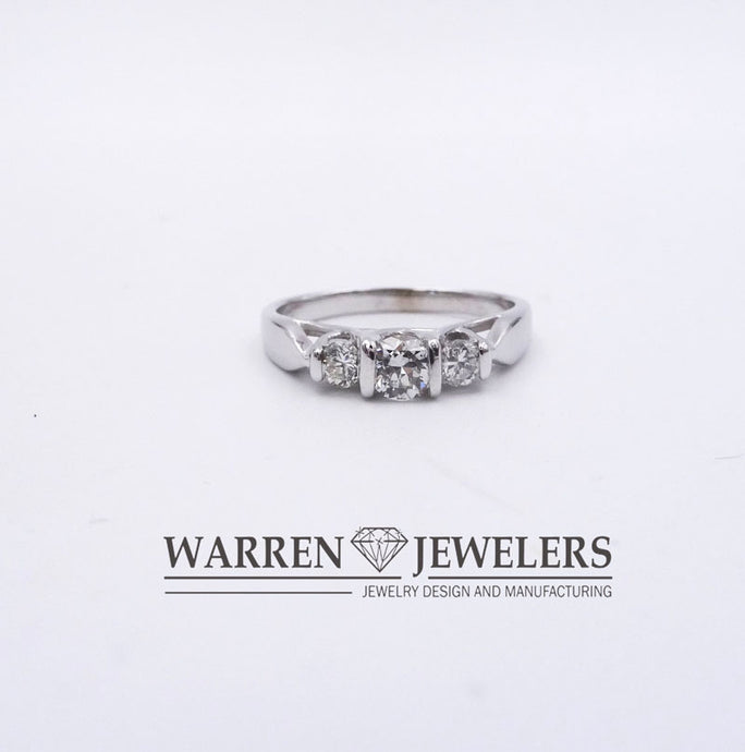 3-stone Diamond Engagement Wedding Ring 14K White Gold 1/2ctw