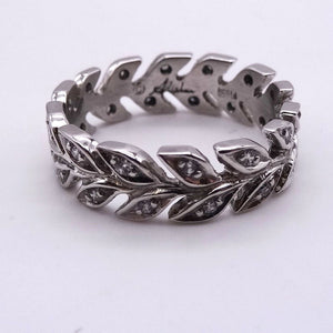 DIAMOND ETERNITY RING PLATINUM CUSTOM VINE DESIGNER 1/2CTW