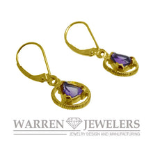 AA Sobriety Recovery Gift Jewelry Amethyst Earrings 14K Yellow Gold