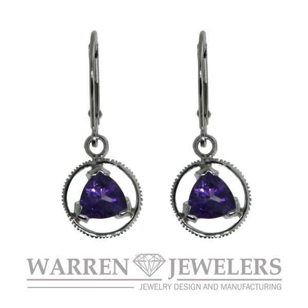 AA Sobriety Recovery Gift Jewelry Amethyst Earrings 14K White Gold
