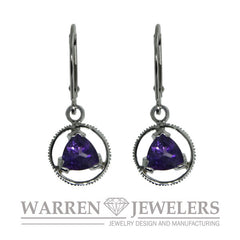 Sobriety Jewelry Amethyst Earrings 14K Gold
