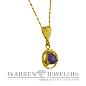 AA Sobriety Recovery Gift Jewelry Amethyst Necklace in 14K Yellow Gold