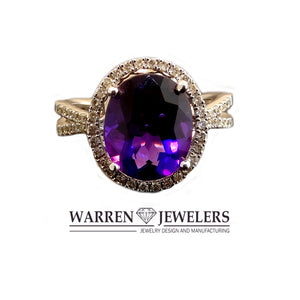 Deep Purple Oval Amethyst and Diamond Halo Ring in 14K White Gold
