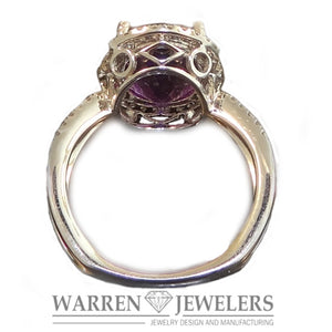 Amethyst and Diamond Ring in 14K