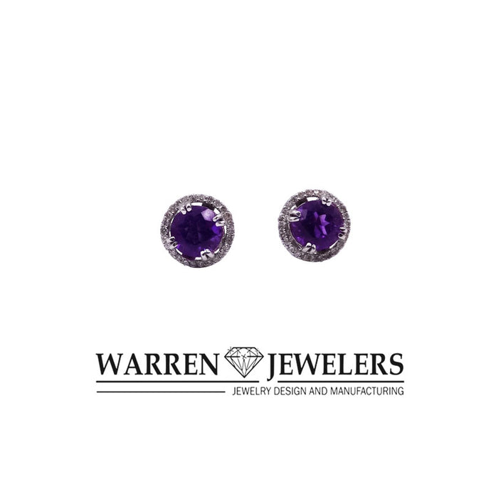 Amethyst and Diamond Halo Style Pierced Earrings 14K White Gold