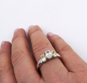 3-stone Oval Yellow and White Diamond Ring 14K White Gold 1.68ctw