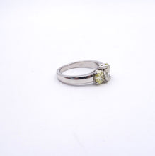 3-stone Oval Yellow and White Diamond Ring 14K White Gold 1.68ctw side view