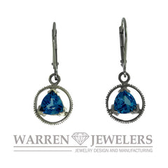 Sobriety Jewelry Blue Topaz Earrings 14K Gold