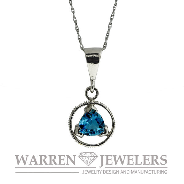 AA Sobriety Recovery Jewelry Blue Topaz Necklace Pendant in 14K White Gold