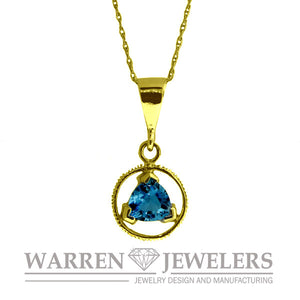 AA Sobriety Recovery Jewelry Blue Topaz Necklace Pendant in 14K Yellow Gold