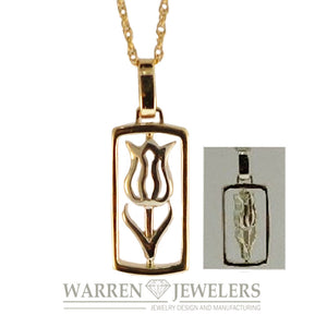 Ballerina Tulip Floral Jewelry 14K Yellow and White Gold Pendant Necklace