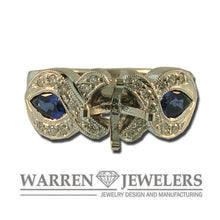 Diamond and Sapphire Custom Semi Mounting Ring