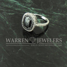 2.28ctw Cushion Cut Black Diamond and White Diamond Halo Wedding Anniversary Ring