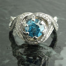2.62ctw Blue Diamond and White Diamond Engagement Anniversary Wedding Ring