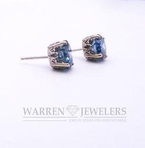 3.80ctw Blue Diamond Earrings in White Gold Fluted Post Earring