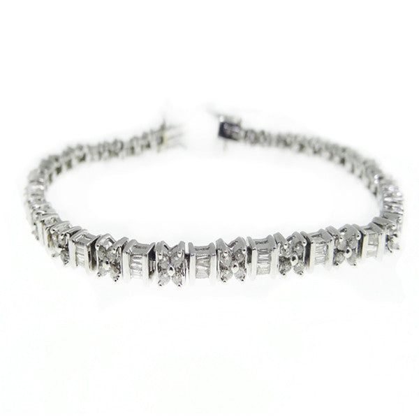 2 ctw Diamond and Baguette Bracelet