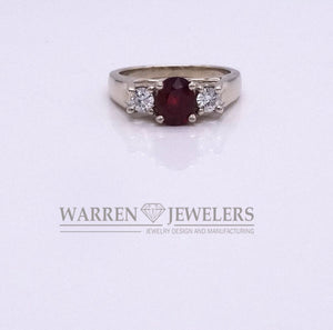 1.19ct Red Ruby and Diamond 14K White Gold Ring