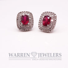 Red Ruby and Diamond Earrings