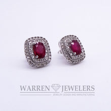 Ruby Red Oval Cut Diamond Halo Earrings 10K White Gold