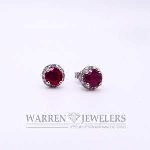 Ruby and Diamond Halo Earrings 14K White Gold