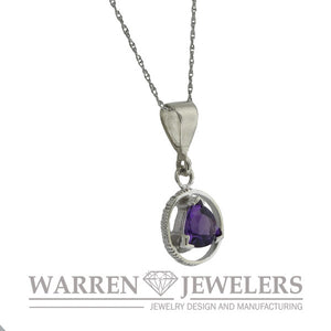 AA Sobriety Recovery Gift Jewelry Amethyst Necklace in 14K White Gold