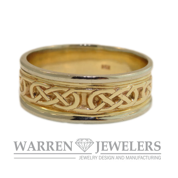 Men's Celtic Weave 14K Yellow and White Gold Ring