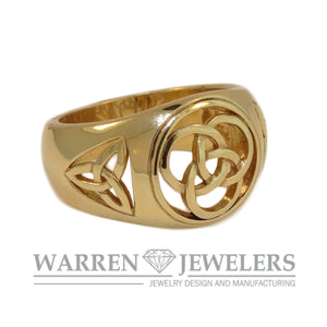 Mens Celtic Knot Trinity Inlay 14k Yellow Gold Ring