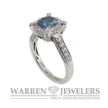 1.01 Carat Blue Diamond Halo Wedding Engagement Anniversary Ring 18K White gold