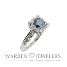 Carat Blue Diamond Halo Wedding Engagement Anniversary Ring 18K White gold