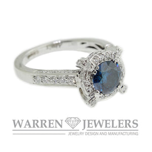 Blue Diamond Halo Ring 18K White gold
