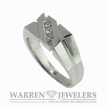 Men's Diamond White Gold Wedding Band Ring 1/3ctw Princess Square Cut
