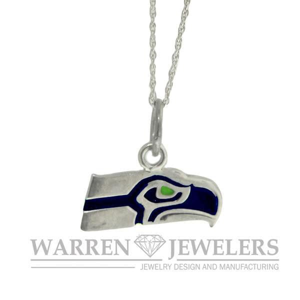 Seattle Seahawk Team Sport Blue and Green Sterling Silver Pendant Necklace
