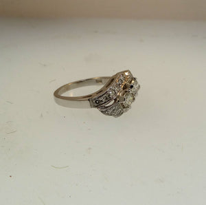 2-stone Vintage Estate Style Diamond Wedding Anniversary Ring  .87ctw 14k WG