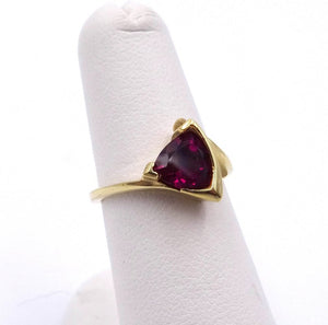Rhodalite Garnet Trillian Cut Bold Modern Style Ring 14K Yellow Gold