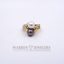 Ladies White and Gray Round Cultured Pearl Ring 10K Yellow Gold