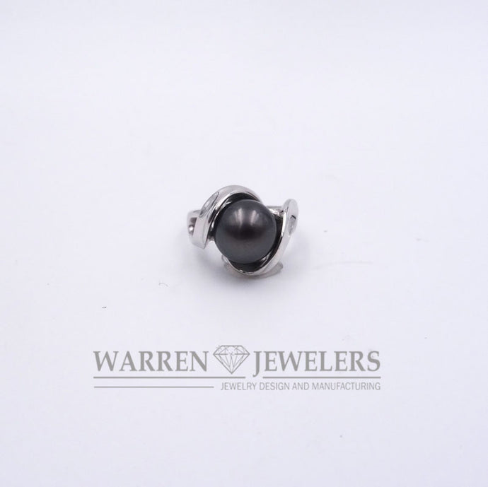 Natural Tahitian Black 10mm Pearl Swirl Design Ring 14K White Gold