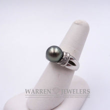 Natural Tahitian Black 9.9mm Pearl and Diamond Ring14K White Gold